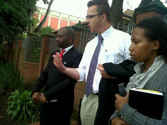 The lawyer reports back on the steps of the Pinetown magistrate's court - 29 January 2013